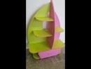 Детский стеллаж-полка-корабль. Полка для игрушек цвет лайм и розовый. Полки-кидс. ру