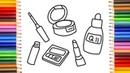 Coloring Book Makeup for Kids How to Draw Lipstick powder Drawing Mascara Zyriki TV