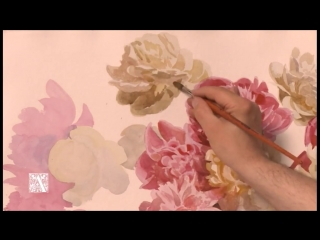 Белые и розовые пионы. Андрияка С.Н. (ускоренный видеоурок) акварель watercolor