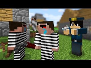 [Фреш] Коп нашел деревню жителей - преступников в Майнкрафт! Копы и преступники - троллинг и нуб minecraft