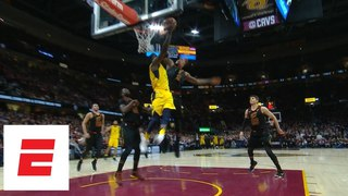 LeBron James makes vintage, possibly game-saving block on Victor Oladipo with seconds left | ESPN