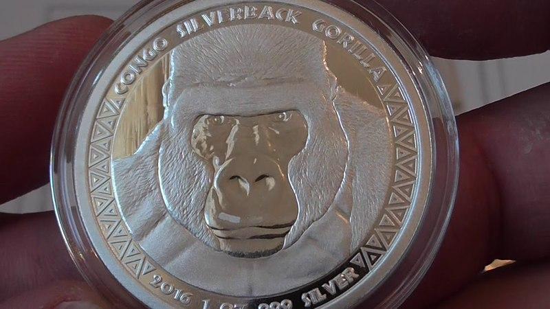 Вторая серебряная монета ГОРИЛЛА,республика Конго.5000 FRANCS CFA.31.1гр.проба 999, 2016 год.