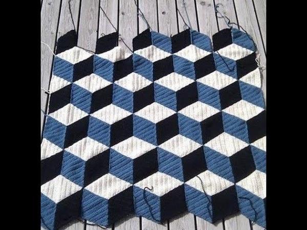 Плед с объемным узором из мотивов крючком. Plaid with crochet motif