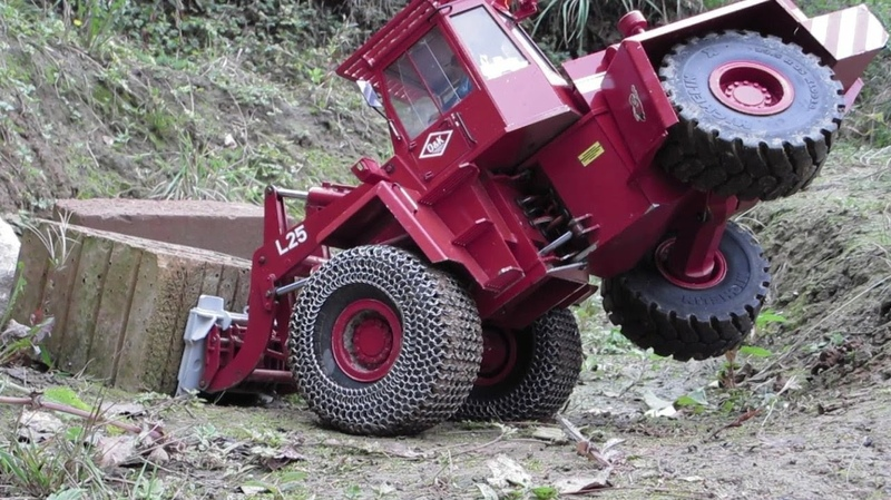 SCHWERLAST GABEL, Radlader mit BRAEKER-LOCK Schnellwechsler | BLOCK HANDLING FORK RC wheel loader