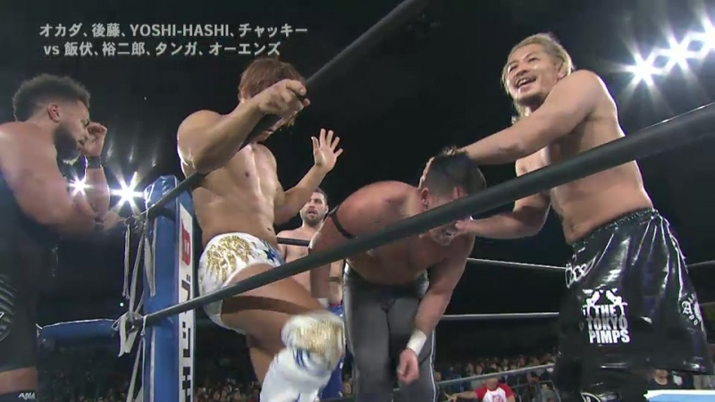 Kota Ibushi, Yujiro Takahashi, Chase Owens, Tanga Roa vs. Kazuchika Okada, Hirooki Goto, YOSHI-HASHI, Chuck Taylor (NJPW)