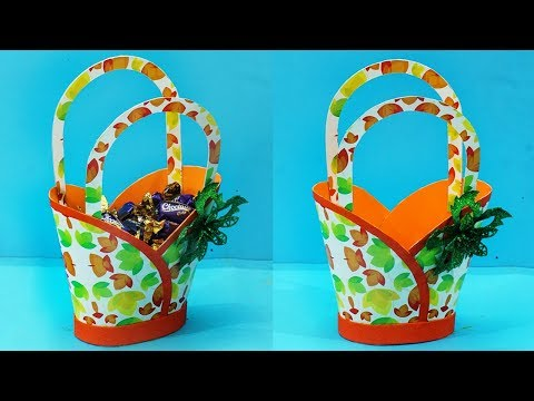 DIY Paper Basket How to Make Paper Basket   Easy Handmade Chocolate Basket   Gift Basket Ideas