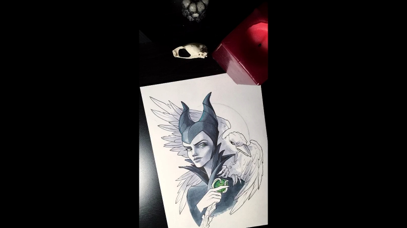 Sketch. Maleficent and crow