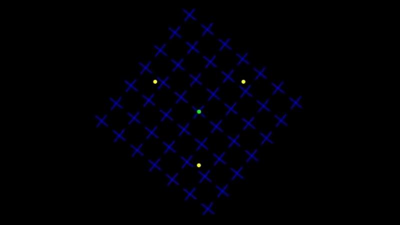 Сконцентрируйте взгляд на зеленой точке посередине. Через некоторое время желтые точки исчезнут одна за другой