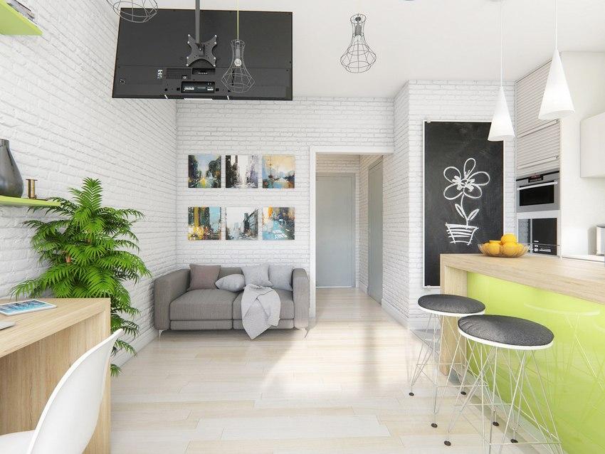 Проект квартиры-студии 24 м от ГК АльфаСтройИнвест – застройщика ЖК Smart Life, Краснодар.