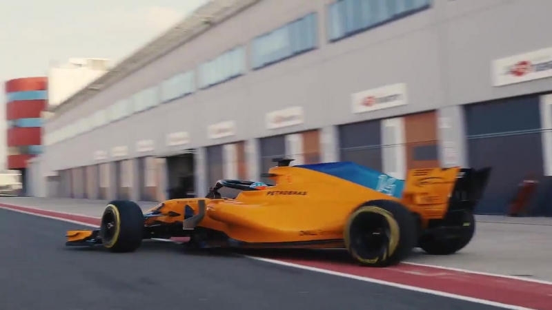 Fernando fires up and heads down the pitlane.