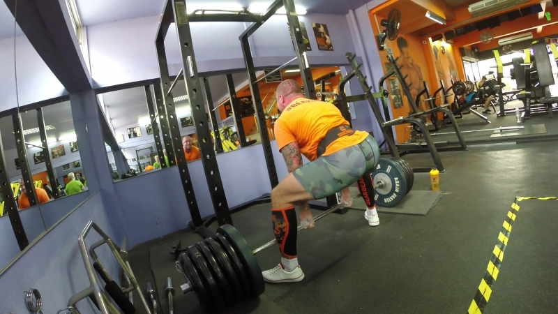 Deadlift 250kg/551lb 5 sets 2 reps with support Bear gear