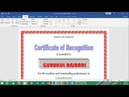 How to make Formal Certificate with MS Word Part 2 by Gurukul