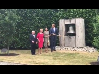 The Duke and Duchess of Sussex ring the Peace Bell made to mark the 10th anniversary of the Belfast Agreement RoyalVisitIreland