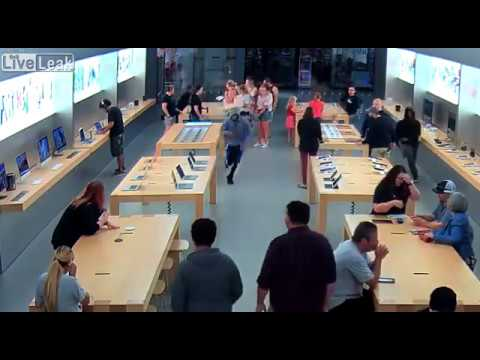 Four thieves storm the Fresno Apple Store and steal $27K worth of electronics LiveLeak