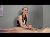 Девушка блондинка разговаривая дрочит член до разрушенного оргазма (cfnm, handjob, cumshot, ruined orgasm, teen, эякуляция)