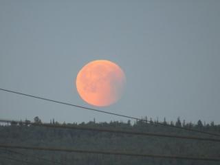 Аэрофлот заходит на посадку на фоне Кровавой луны. Мурманск 28.07.18, 01:30