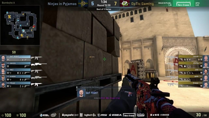 [CSRuHub] NiP vs OpTic - ESL Pro League S7 Finals - map1 - de_mirage [ceh9, CrystalMay]