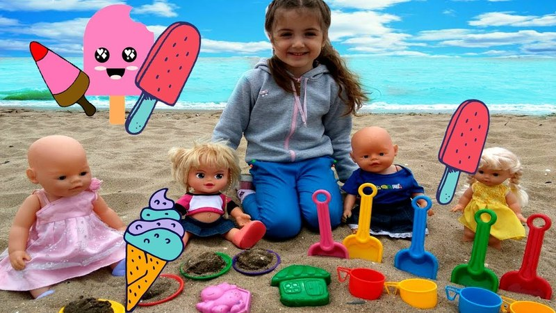 Kid and Dolls Pretend Play with Ice Cream Toys from sand on the Beach