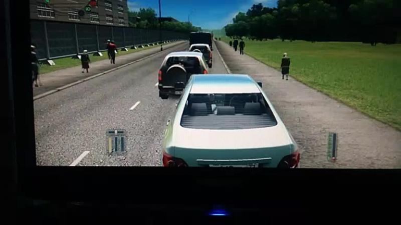 реальная жизнь в игре city car driving стоим в пробке едем домой и попав в аварию