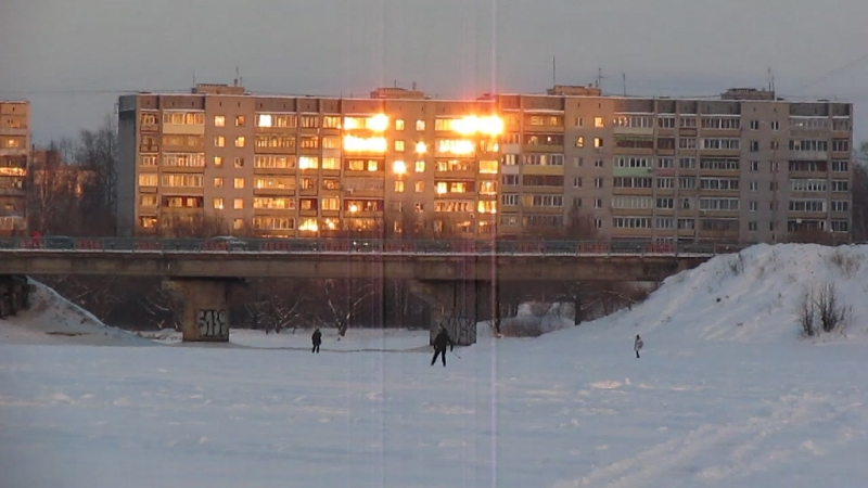 Цвет февраля. На закате. Донховка. Центральный мост. Конаково