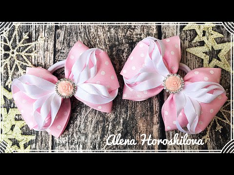 Нежные бантики из репса МК Канзаши Алена Хорошилова tutorial ribbon bow laço de fitas
