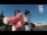 Дед мороз и Снегурочка на мотоцикле по Омску