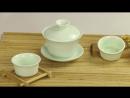 Зеленый чайный сервиз 8шт Гайвань