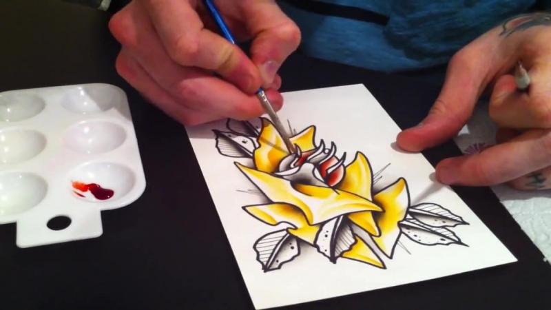 Как рисовать тату эскиз акварелью, для начинающих