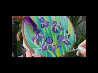 Ботаническая живопись. Батик. Ирисы