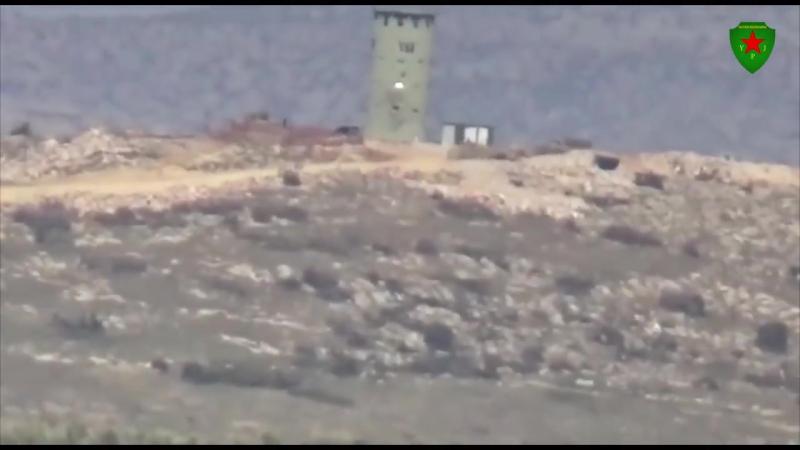 Сирия.03-02-2018.Поражение блиндажа с турецкими солдатами из ПТРК курдами YPG