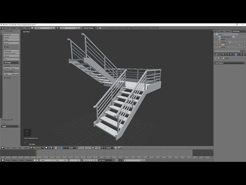 Blender 3D - Modeling Practice 19 low poly stairs