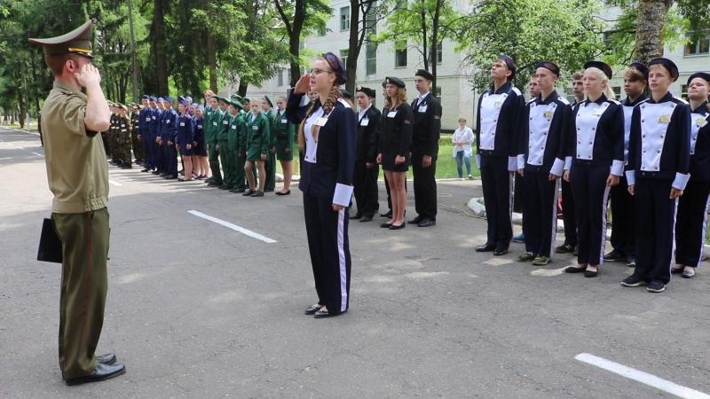 Смотр строя и песни во время военно-патриотической игры Бастионы мужества