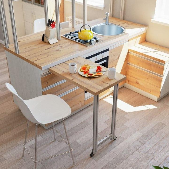 Функциональная кухня на прочных П-образных профилях с выдвижным столиком