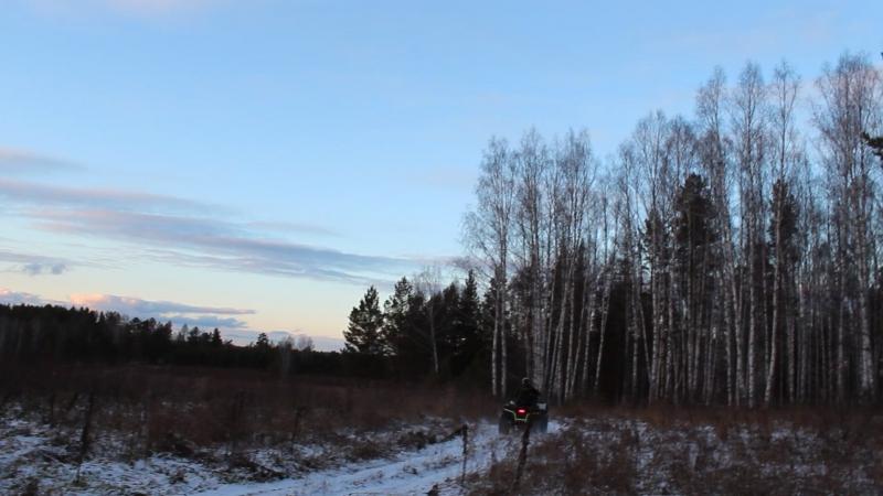 На квадроцикле по заснеженному лесу в Бажуково