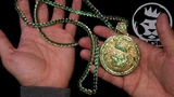 King Ice Gold Plated Emerald Green CZ Magnus Lion Necklace Hip Hop Jewelry Kingice.com