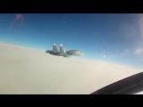 Дозаправка в воздухе бомбардировщиков Су-34 от самолетов-топливозаправщиков Ил-78