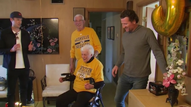 Rinne, Hartnell Surprise Dedicated Preds Fan on 95th Birthday