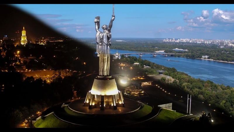 Kyiv Aerial Day and Night.