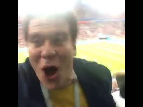 Denis Matsuev celebrates football match victory