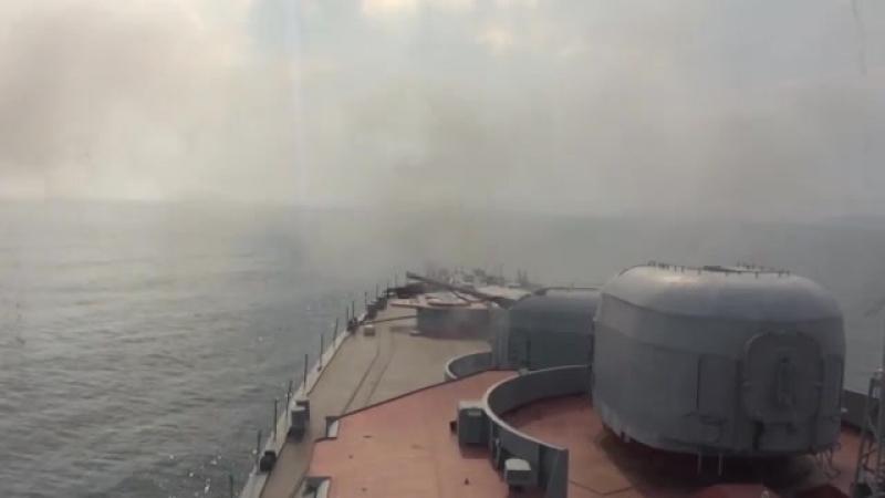 Ракетные и артиллерийские стрельбы БПК Адмирал Виноградов в Японском море