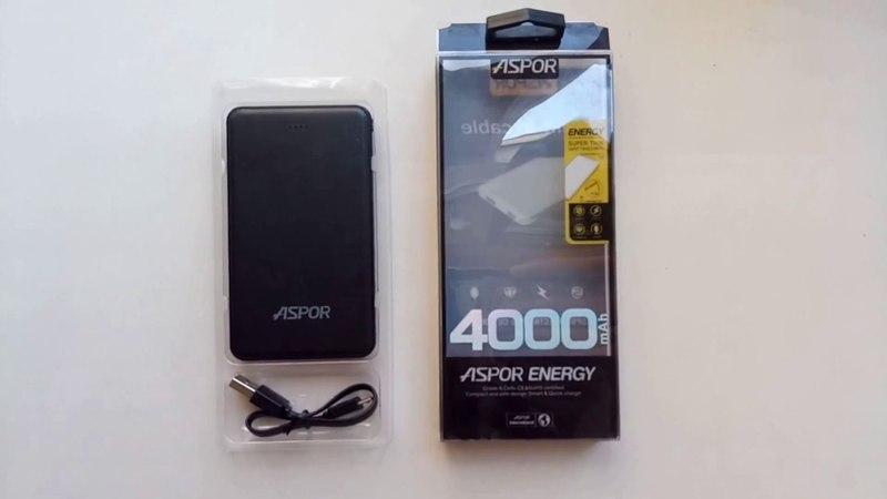 Обзор портативного зарядного устройства Power Bank Aspor A 371