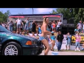 BMW car wash sexy girl with a curvy shape and hot ass