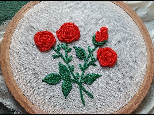 Button hole rose stitchhand embroidery