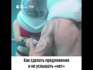 Подводное предложение руки и сердца