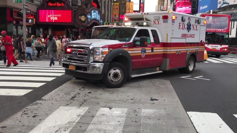 CAN YOU STOP WALKING؟ - FDNY EMS AMBULANCE, USES PA SYSTEM TO GET THROUGH TRAFFIC, WHILE RESPONDING.