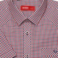 103033708b09510 Приталенная рубашка с коротким рукавом в красную клетку