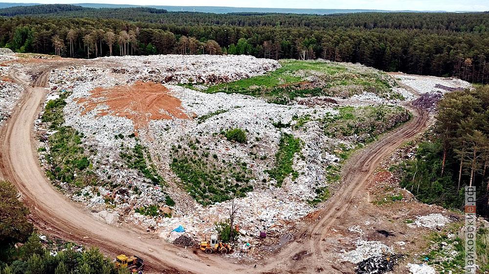 Свалка мусора сверху, Чайковский, 2018 год