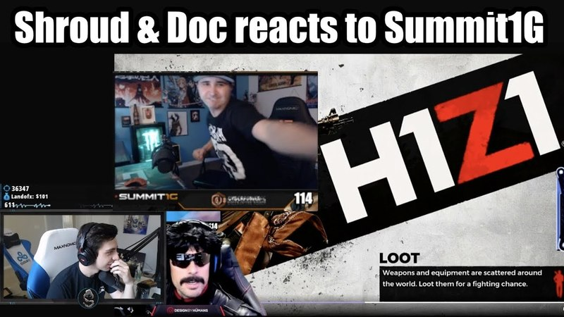 DrDisRespect Shroud reacts to Summit1g punches monitor rage quit in H1Z1