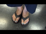 mature 60 year old  woman hair stylist candid feet