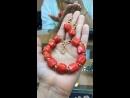 Коралл лосось браслет и серьги